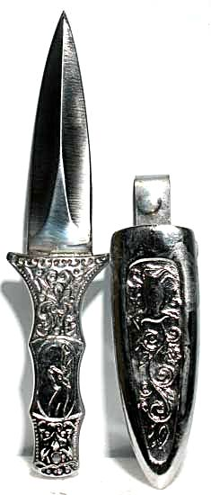 Silver Engraved Boot Knife