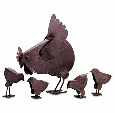Rustic Metal Hen Family