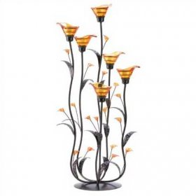 Amber Calla Lily Tea Light Candle Holder