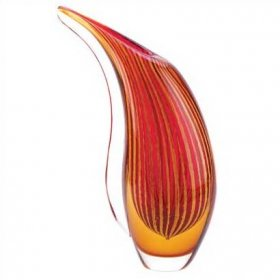 Crimson Sunset Glass Vase