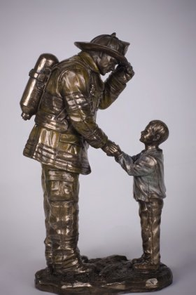 Fireman and Child Statue