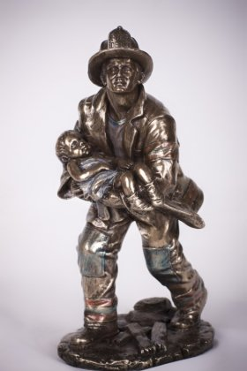 Fireman Rescuing Child Statue