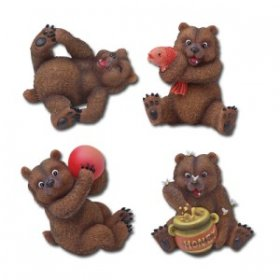 Grizzly Bear Figurines Set of 4