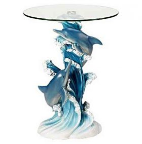 Playful Dolphins Glass Top Altar Table