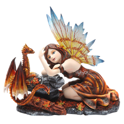 Autumn Fairy with Red Dragon Statue