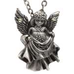 Green Stone Angel Necklace