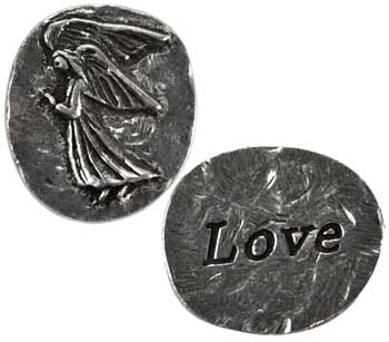 Love Angel Pewter Pocket Stone