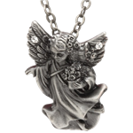 White Stone Angel Necklace